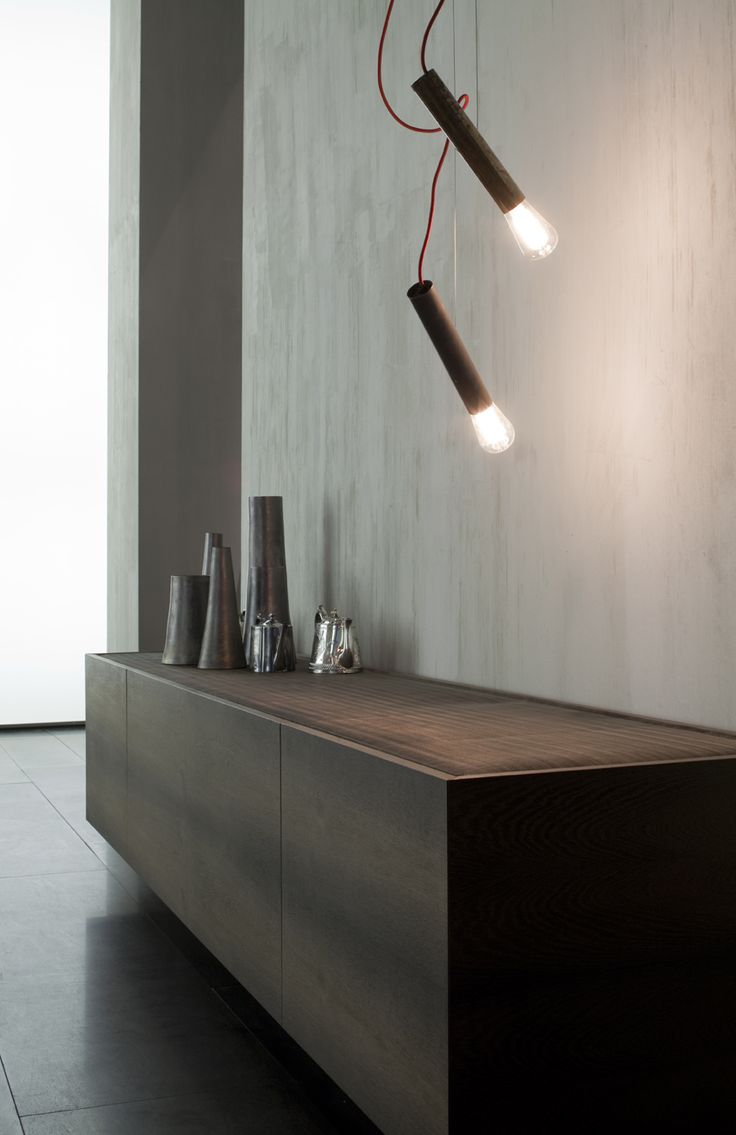 Side X - Collection 2012  Design Massimo Castagna - Horizontal low sideboard, covered with natural swamp oak with hand applied vegetal oil finish based on natural wax; continuous basis in hand burnished black steel; top in burnished steel mesh, tweed pattern internal accessories in leather. http://www.henge07.com/