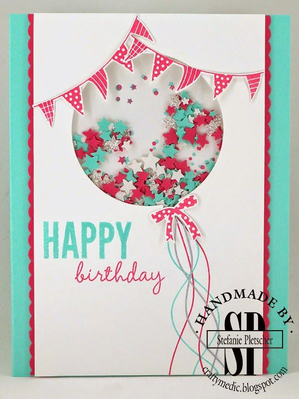 "SU ""Celebrate Today"" stamp and die set.  Balloon strings hand drawn with markers.  Sprinkles made from star confetti punch.  Colors: Tempting Turquoise, Whisper White and Watermelon Wonder (?)  Cute color combo, really sweet card."