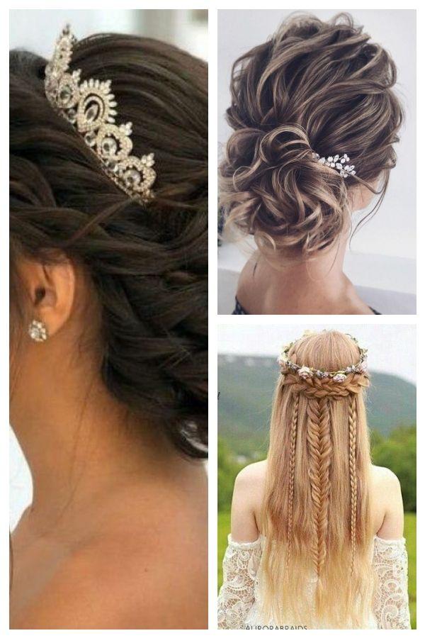 Susse Quinceanera Frisuren Mit Krone Hochzeitsfrisuren Weddinghairstyleswithtiara Quince Hairstyles Quinceanera Hairstyles Wedding Hairstyles
