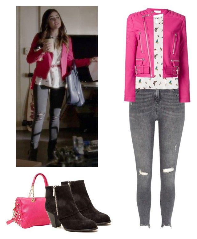 """""""Aria Montgomery - pll / pretty little liars"""" by shadyannon ❤ liked on Polyvore featuring River Island, Betsey Johnson, Equipment, Cédric Charlier and Qupid"""