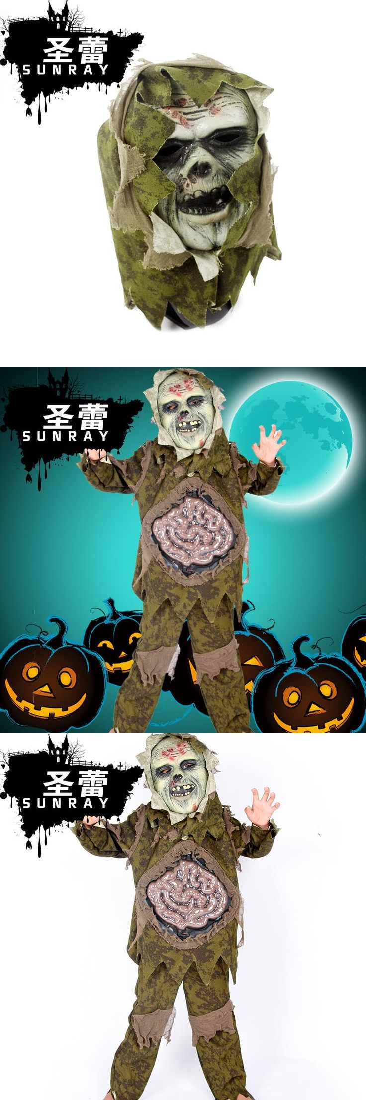 New Halloween Duchang Strange Ghost Scary Costumes Boys/Girls Zombies Children Cosplay Costume Shirt+Pant+Mask 3pcs Set
