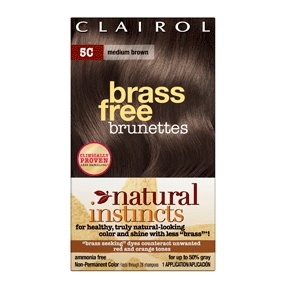 Clairol natural instincts brass free haircolor, medium brown, #5c, 1 ea