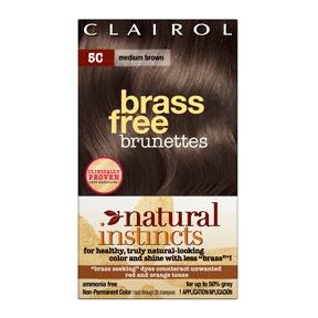 Clairol natural instincts brass free haircolor, medium brown, #5c, 1 ea