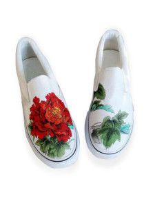 Cool White Canvas TPR Sole Painted Shoes For Women