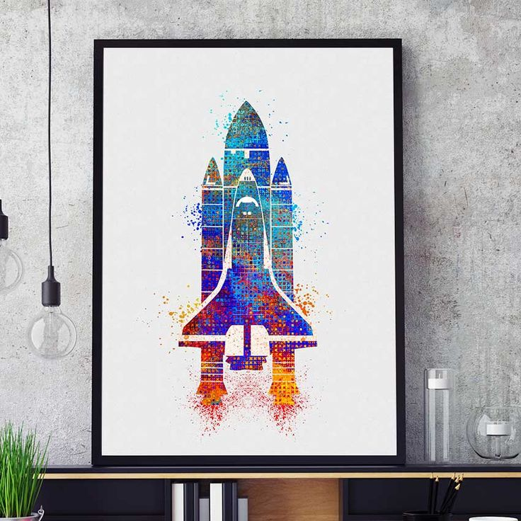 Space Shuttle Print, NASA Print, Space Shuttle, Watercolor Space Shuttle, Wall Art Print, Kids Space Decor, Nursery Space Shuttle  (N306) by PointDot on Etsy