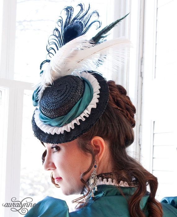 Victorian Style Hats Splendor Victorian Tilt Hat - Natural Straw - Made to order $72.00 AT vintagedancer.com