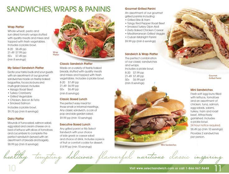 Select sandwich catering menu 6 restaurant menus of for X cuisine miri menu