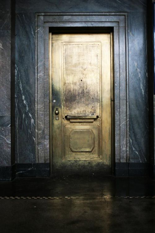 A custom brass door adds a lot of glamour and a bit of mystery to the space.