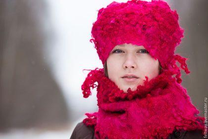 Шапка и шарф Фуксия