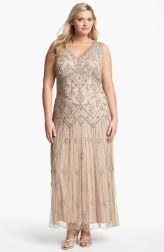 shopstyle.com: Pisarro Nights Beaded Mesh Gown (Plus Size)