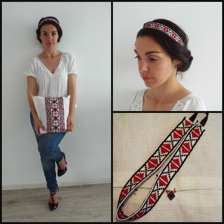 Cross stitch headband with romanian traditional motifs.