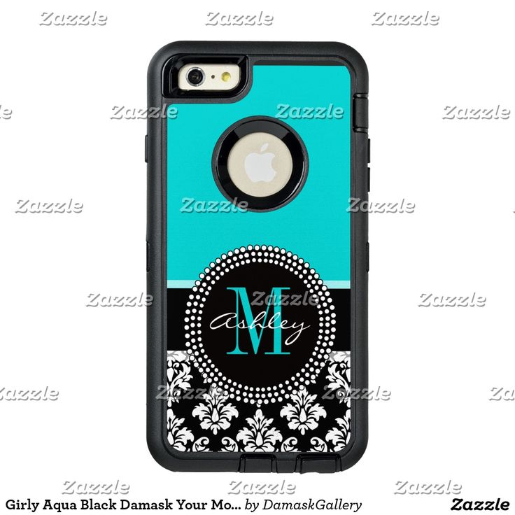 Girly Aqua Black Damask Your Monogram Name