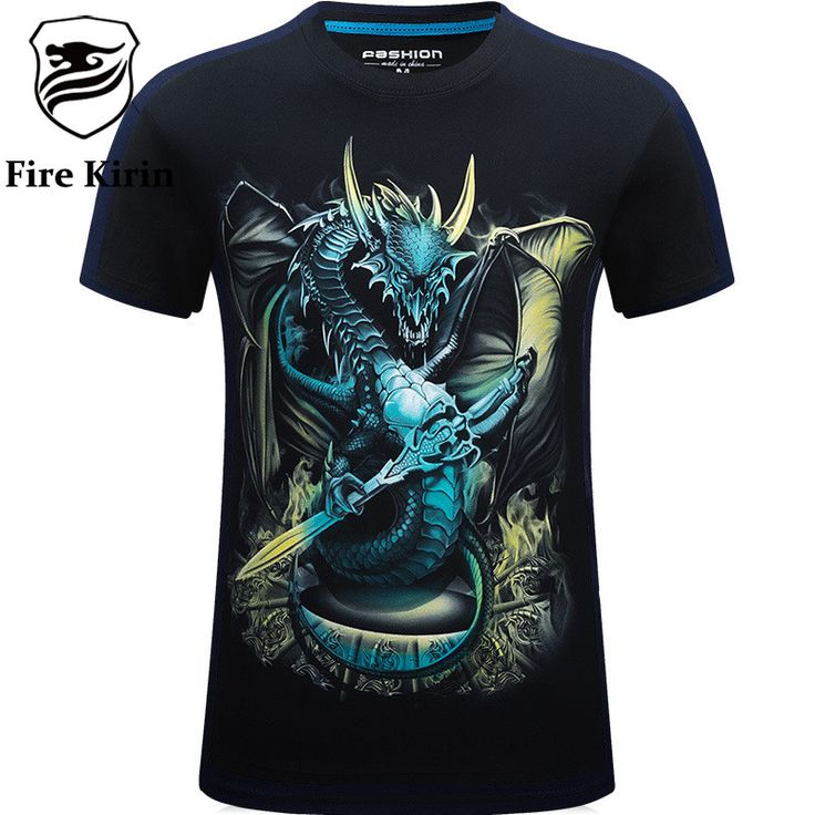 Fire Kirin 3D T Shirt Men Luxury 5XL 6XL Mens Hip Hop Clothing Dragon Skull Print T-shirt Cotton Camisetas
