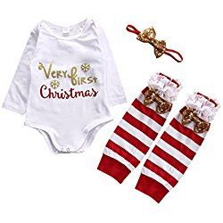 Baby Girls Christmas 3 Piece Set,Bodysuit,Red Striped Ankle Socks,Headband (60(0-3M), White+red)