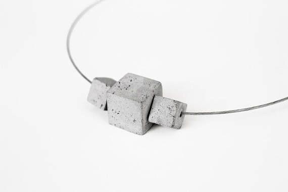 Modulare Beton Halskette moderner Schmuck zeitgenössischer