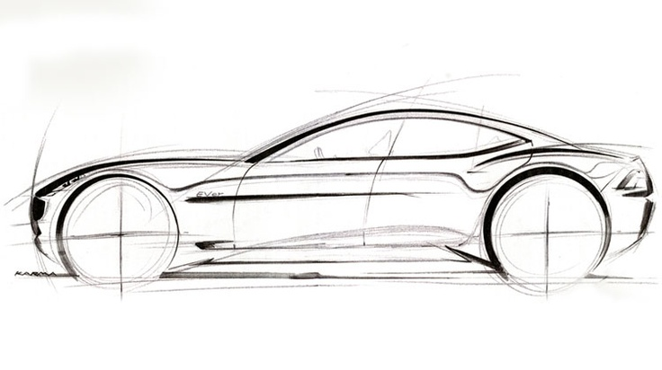 Sketch of 2012 Fisker Karma.
