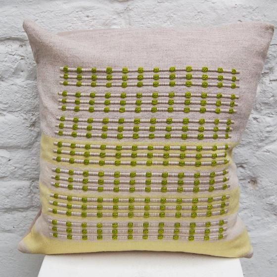 Lime Green Cushion handwoven cushion by Zoe Acketts, available to buy online or at Golden Hare Gallery in Ampthill, Bedfordshire