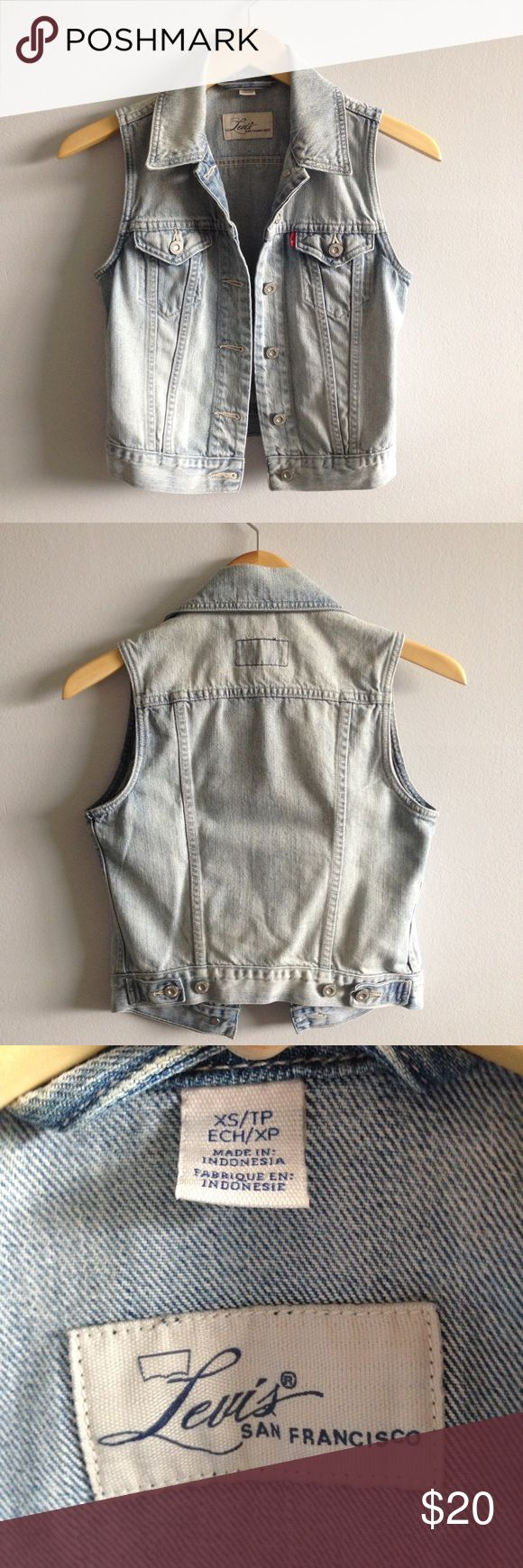 "Levi's Sleeveless Denim Jacket Vest Levi's San Francisco. Measurements laying flat approx: Pit to pit 16.25"", waist 14"", length 18"". Size XS but could also fit size S as well unbuttoned Levi's Jackets & Coats Vests"