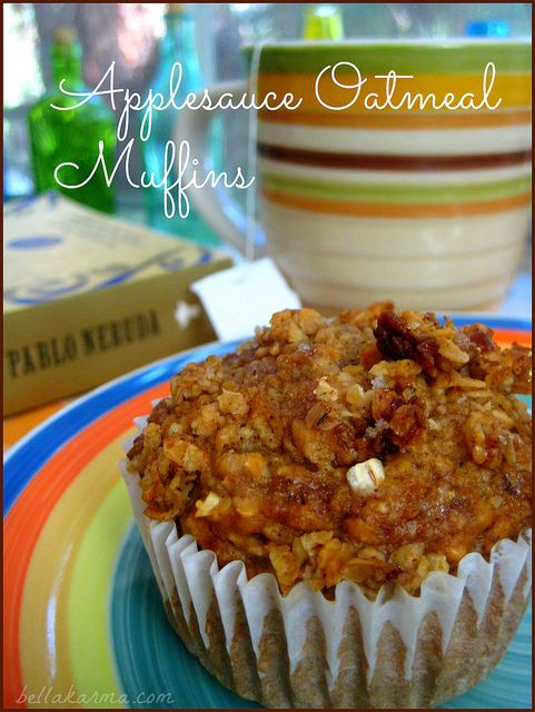 Applesauce Oatmeal Muffins recipe made with Quaker Oats. #breakfast
