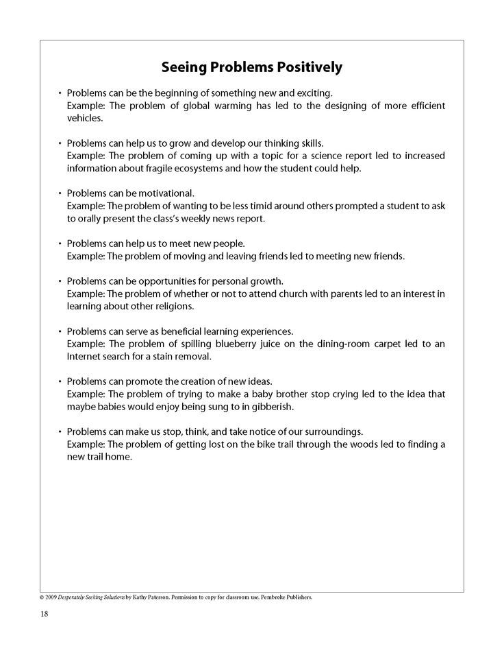 Positive Problem Solving - Help any kid (or adult!) to define - problem report