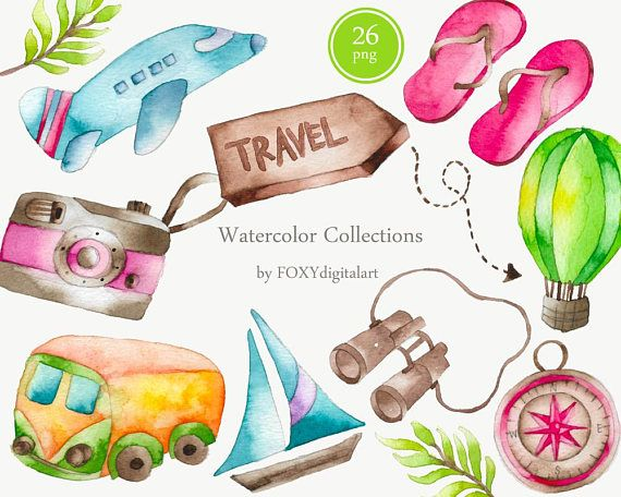 Travel Clipart Watercolor Clipart Traveling Clipart Vacation Clipart Travel Girl Wanderlust