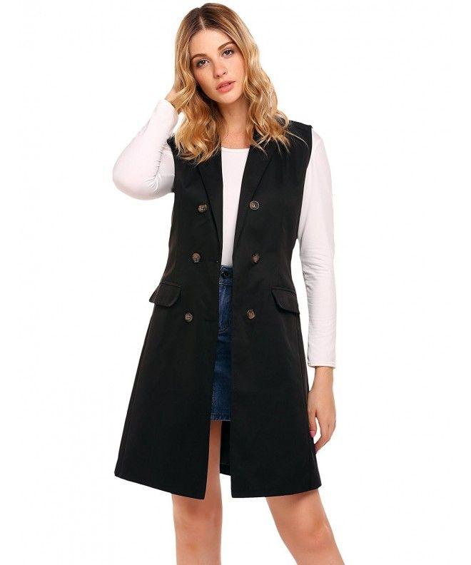 89495595988 Women s Sleeveless Double-Breasted Long Vest Blazer With 2 Pocket - Black -  CC185LZ3YYL