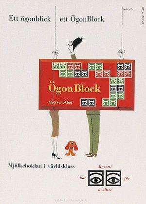 【スウェーデン】Olle Eksell(オーレ・エクセル)のグラフィックデザイン - マゼッティのミルクチョコレートの広告。