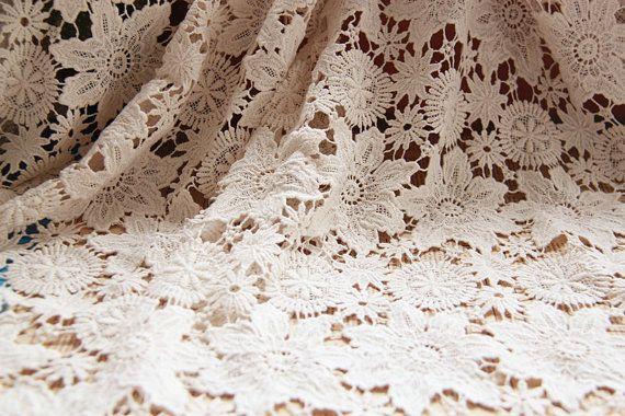 natural cotton lace fabric, ecru cotton lace, retro lace fabric, hollowed out floral lace, sale