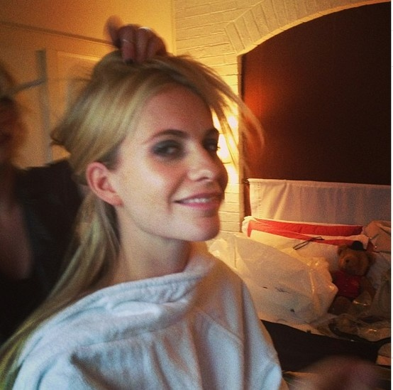 Poppy Delevingne getting ready for the Tiffany Blue Book Ball, NYC