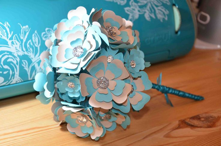turquoise and tan paper flower bouquet handmade and created by Amber from AJ's Craft Creations.