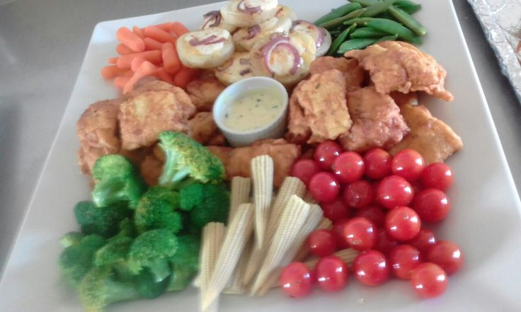 Vege and hake platter. South African fresh veges done delicious.