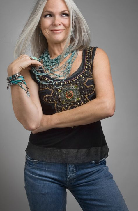 """""""Older"""" woman with great boho style and beautiful grey hair! I want to look this cool in 20 yrs."""