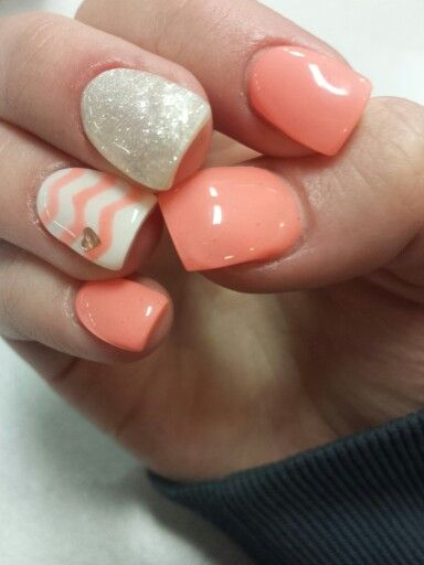 Coral and Champagne gel nails with chevron design. In love!