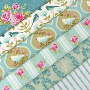Tilda-Winterbird-duck-egg-bird-rose-fabric-value-pack-x-6-christmas-decoration