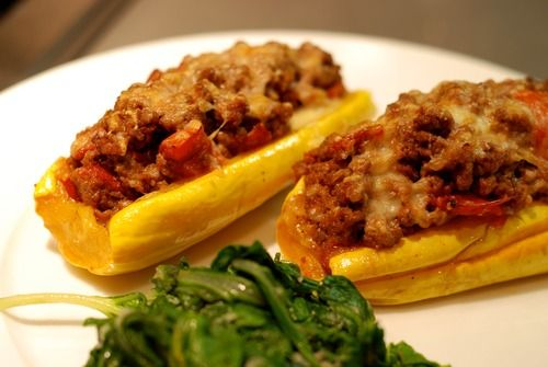 Delicata Squash Stuffed with Spiced Meat and Tomatoes (serves 2) and a ...