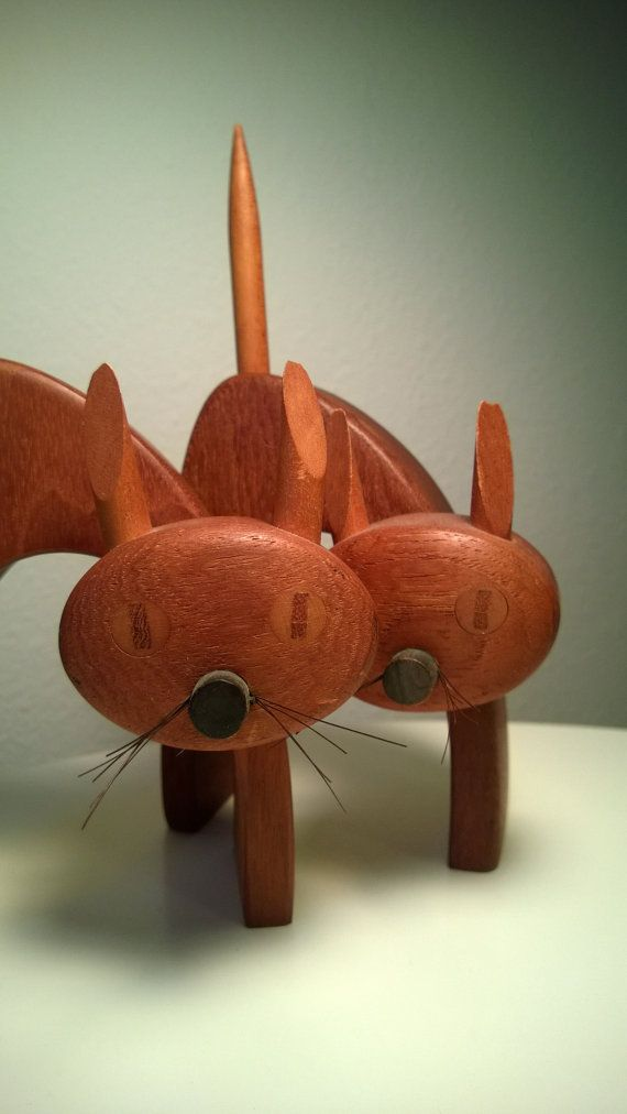 Meow Wow Pair Of Teak Cat Figurines Wooden FigurinesModern ToysWooden