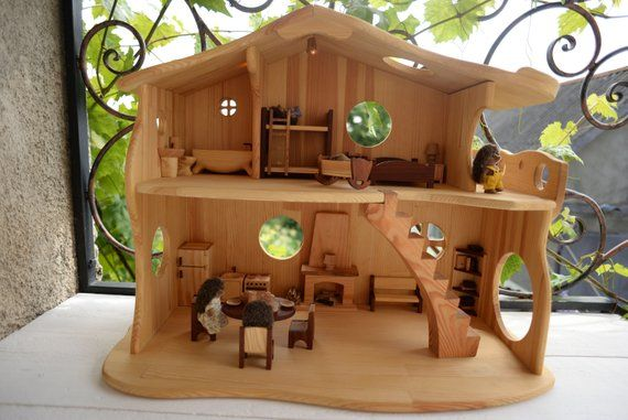 Hobbit House With Fireplace With Furniture Montessori Waldorf Child S Playhouse Sylvanian Families Calico Critters 1 16 House Scale 3 4 Hobbit Huizen Hobbit Huis Poppenhuis Speelgoed