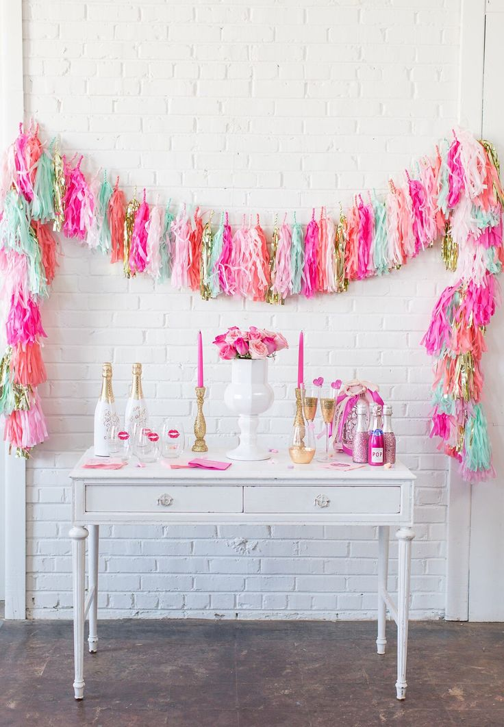 Tissue Paper Tassels, Tassel Garland, Custom Banner Garland Choose your colors Birthday Photo Backdrop, Bridal Shower Decor, We Love to Part by GlamFeteByBri on Etsy https://www.etsy.com/listing/180802330/tissue-paper-tassels-tassel-garland