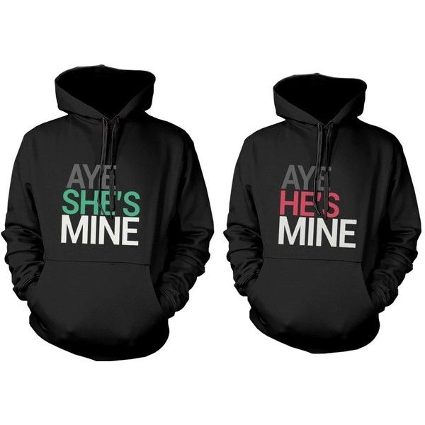 His and Her Matching Hoodies Aye She's Mine, Aye He's Mine Couples... ($70) ❤ liked on Polyvore featuring tops, hoodies, hooded pullover, hoodie top, sweatshirt hoodies and hooded sweatshirt