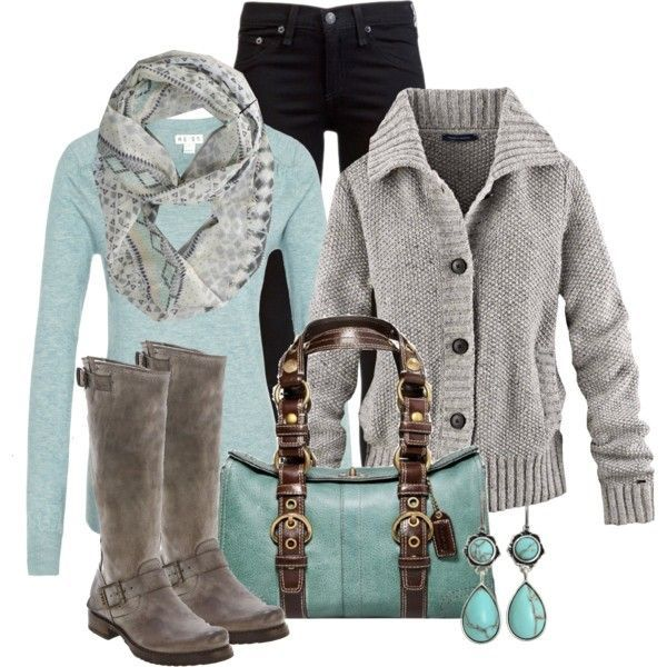 Grey and Teal!  And, slightly chunky-rugged.
