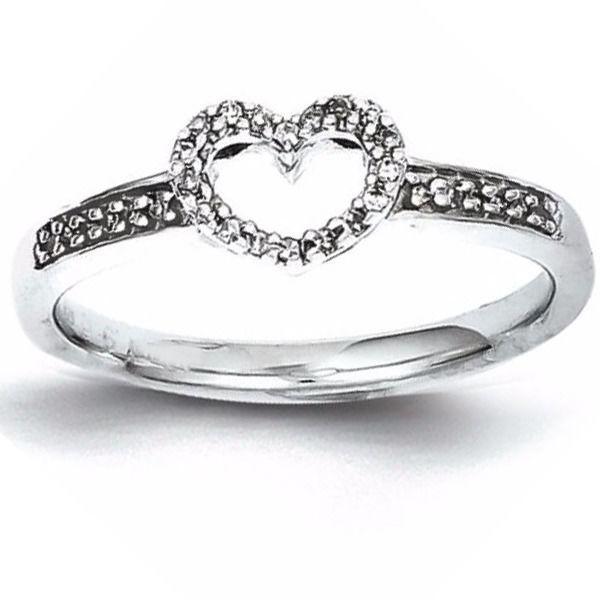 1/10Ct Diamond Heart Ring Promise Ring, 14K Gold Over $999 #AffinityFashionJewelry #Promise #EngagementWeddingAnniversaryPromiseValentine