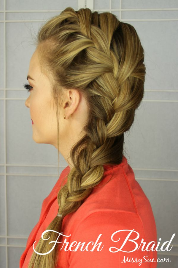 How to French Braid: 1. Section the hair into three equal sections. 2. Begin a regular braid crossing the right strand over the middle followed by the left strand. 3. On the second stitch, pull in a section of hair that lines up with that strand and incorporate it into the crossed piece. 4. Repeat this on the other side. 5. Continue this method as you work your way down until all the hair is pulled into the braid. 6. Tie off the end with an elastic band.