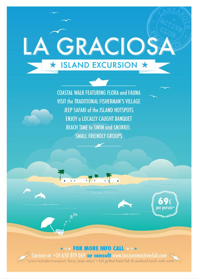 A3 & A4 poster - La Graciosa excursion - The third poster in a series, made for LAC excursions, with a design a little vintage that reproduces the Island of La Graciosa. I love this project! :) #lilymedicidesign #graphicwork #ilovemywork #creative #design #island #excursions #lagraciosa