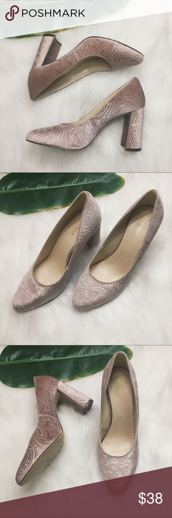 """Women's Nine West Jayvee Dusty Pink Pin Up Pumps Retro pin up style dusty pink Nine West Jayvee velour heels  Excellent, like new condition  Size 10 Textile upper Man made lining 3.5"""" heel   📷 Please see all photos - we do our best to accurately capture condition, measurements & all blemishes in our photos 📷   🌼 Smoke/pet free home 🌼  🌸 All clothing is freshly laundered before shipment. 🌸  ✨ Reasonable Offers Accepted ✨ Nine West Shoes Heels"""