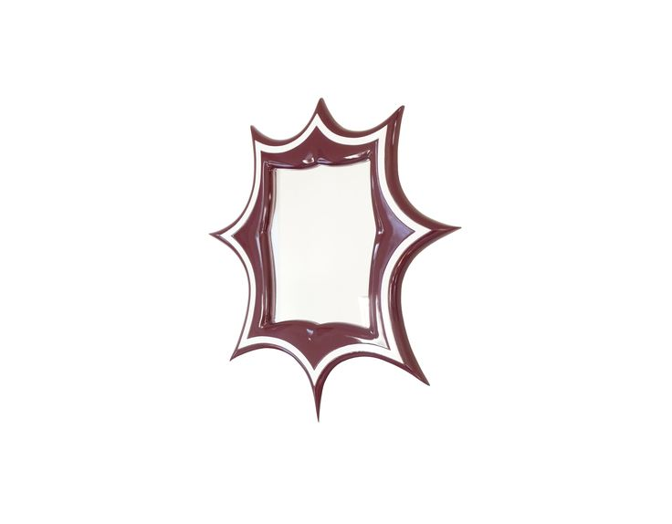 Funky Mirrors Meridian Mirror in Burgundy and Ivory White detailing.