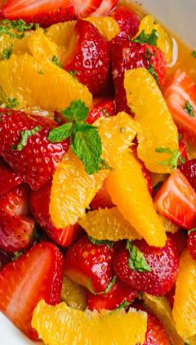 Strawberry and Orange Salad with Citrus Syrup