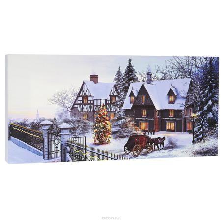 """КвикДекор Картина на холсте """"Рождественская открытка"""", 40 см х 20 см  — 260.4р.  Картина на холсте КвикДекор """"Рождественская открытка"""" - это прекрасное украшение для вашей гостиной или спальни. Она привнесет в интерьер яркий акцент и сделает обстановку комфортной и уютной. Доминик Дэвисон создает свои картины, используя компьютер и 3D-графику. Большое влияние на творчество Дэвисона оказал голландский пейзажист Баренд Корнелис Куккук, именно поэтому в его работах преобладают эстетические…"""
