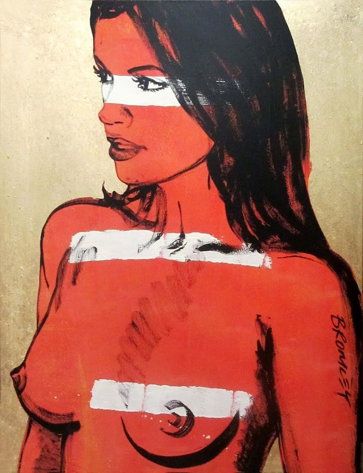 "DAVID BROMLEY Nude ""Chelsea"" Polymer & Gold Leaf on Canvas 120cm x 90cm"