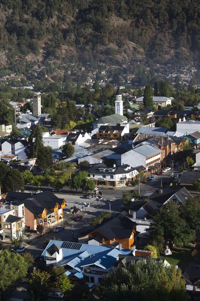 High angle view of a town, San Martin De Los Andes, Lake District, Argentina