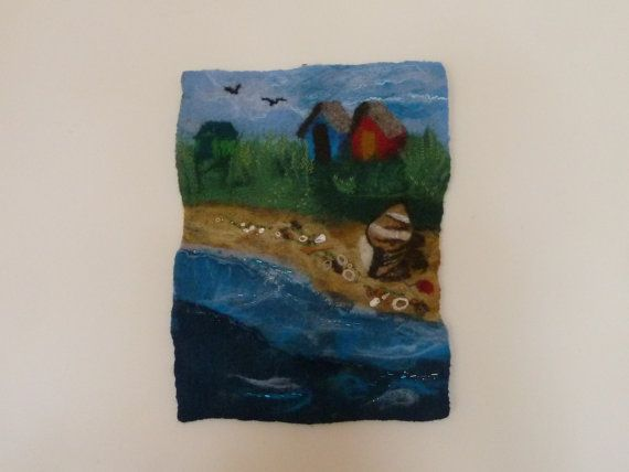 Beach Huts over the Tideline II - handmade, wet-felted wallhanging by Deborah Iden.  For sale on Etsy, or see more by LittleDeb at www.facebook.com/LittleDebFelts.
